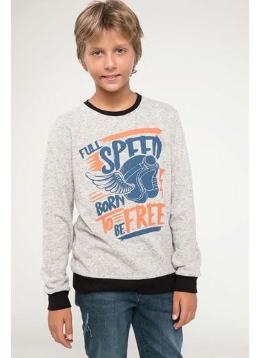 DeFacto Baskılı Sweatshirt Bej